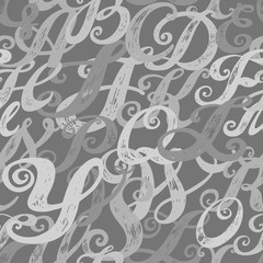 Calligraphy alphabet typeset lettering. Seamless wallpaper pattern. Hand drawn alphabet. Hand drawn sketch of ABC letters in old fashion vintage style.