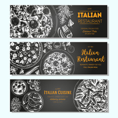 Italian food vintage design template. Horizontal banners set. Vector illustration hand drawn linear art. Italian Cuisine restaurant menu. Hand drawn sketch vector banners