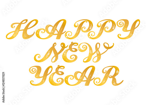 happy new year calligraphy alphabet typeset lettering trended capital letters copy book