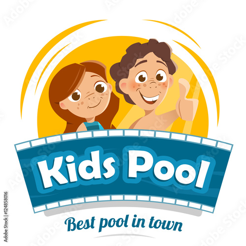 Aqua water park or swimming pool logo design stock image and royalty free vector files on - Swimming pool logo design ...