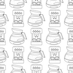 Seamless pattern with outline drawings on the theme of coffee. Coffee maker and kettle for brewing coffee.