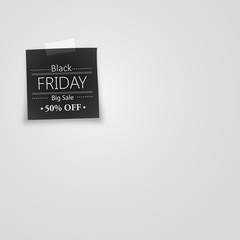 black note paper with black friday. Vector illustration.