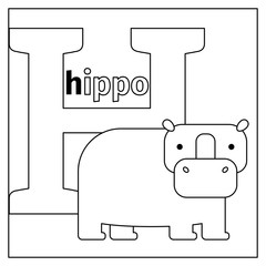 Coloring page or card for kids with English animals zoo alphabet. Hippo, letter H vector illustration