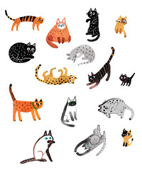 Set of cute cartoon kitties or cats with different colored fur and markings standing sitting or walking.