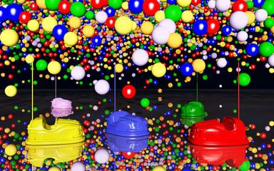 Autoscooter und Luftballons
