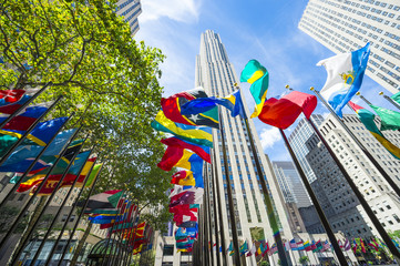 International flags fying in Midtown Manhattan, New York City