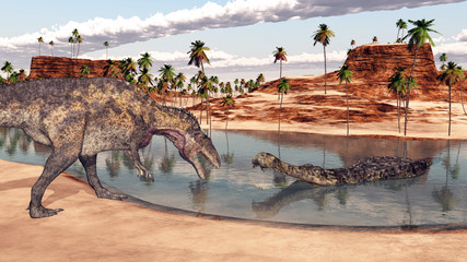 Acrocanthosaurus and Sarcosuchus