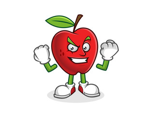 Strong and confident apple mascot. Vector of Apple character. Apple logo