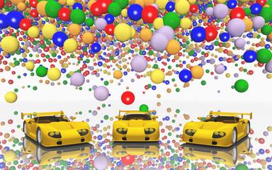 Sportwagen und Luftballons