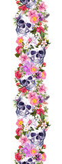 Human skulls with flowers. Seamless border. Watercolor frame