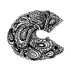 Letter C. Decorative Alphabet with a paisley zen doodle tattoo ornaments filling. Display font and numbers. Hand drawn letters in vintage style. Used for quote lettering.