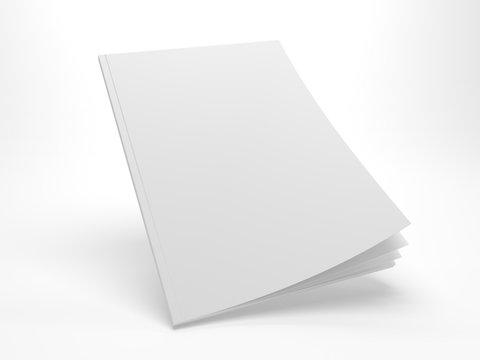 Blank 3D illustration flying opening cover magazine mockup.