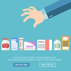 Hand choosing medicine, health treatment