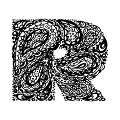 Letter R. Decorative Alphabet with a paisley zen doodle tattoo ornaments filling. Display font and numbers. Hand drawn letters in vintage style. Used for quote lettering.