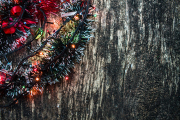 Christmas concept on wooden background