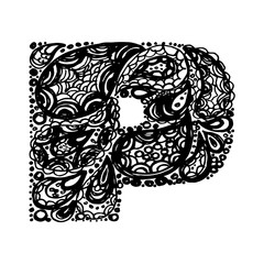 Letter P. Decorative Alphabet with a paisley zen doodle tattoo ornaments filling. Display font and numbers. Hand drawn letters in vintage style. Used for quote lettering.