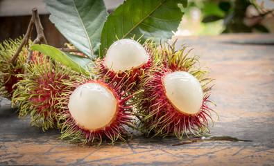 fresh delicious red rambutan, tropical fruit.