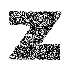 Letter Z. Decorative Alphabet with a paisley zen doodle tattoo ornaments filling. Display font and numbers. Hand drawn letters in vintage style. Used for quote lettering.