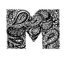 Letter M. Decorative Alphabet with a paisley zen doodle tattoo ornaments filling. Display font and numbers. Hand drawn letters in vintage style. Used for quote lettering.