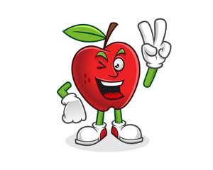 peace apple mascot. Vector of Apple character. Apple logo