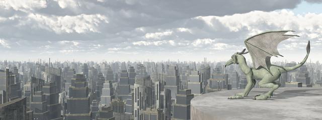 Gargoyle über einer Großstadt