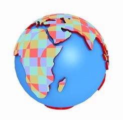 Globus mit Farbmuster