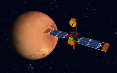Raumsonde und Planet Mars