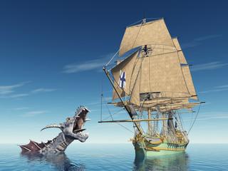 Seemonster und Segelschiff