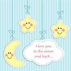 """Cute """"I love you to the moon and back"""" retro card"""