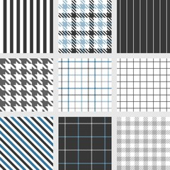 pinstripe, windowpane,bengal stripe, graph check, houndstooth, shepherd's check, tattersall seamless pattern vector