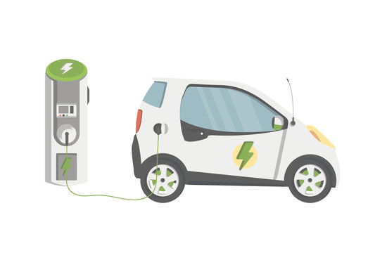Flat Design of Electric car on charging station. Vector Electric car illustration.