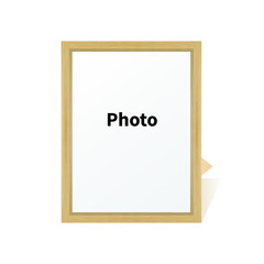 Standing wooden blank clean frame photo on a stand