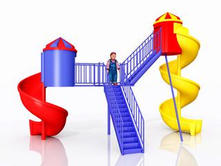 Kleinkind und Kletterlandschaft