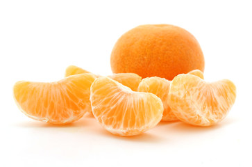 Clementine oranges over white background