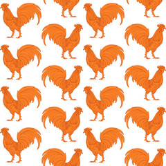 Orange fire decorative rooster on white background seamless pattern.