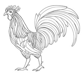 Black and white rooster illustration.