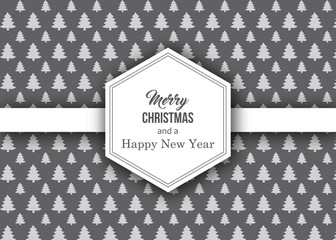 christmas greeting card with tree pattern background