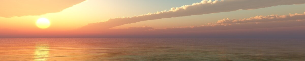 sunset panorama. sea view.