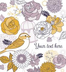 Beautiful flowers & birds