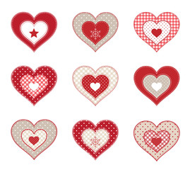 Set of red patchwork decorative hearts, isolated on white background, illustration