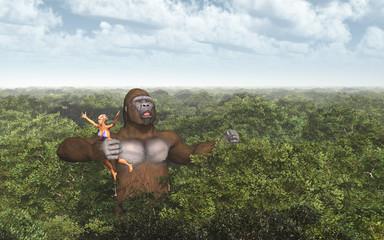 Riesiger Gorilla und Frau in seiner Hand