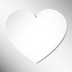 Сердце из бумаги День Святого Валентина карты на белом фоне. Вектор абстрактный фон с сердцем. Бумажные сердца вырезанные из бумаги.