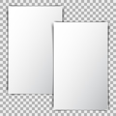 White blank poster mockup, sheet of paper on transparent background