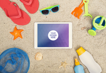 Tablet on the Beach Mockup
