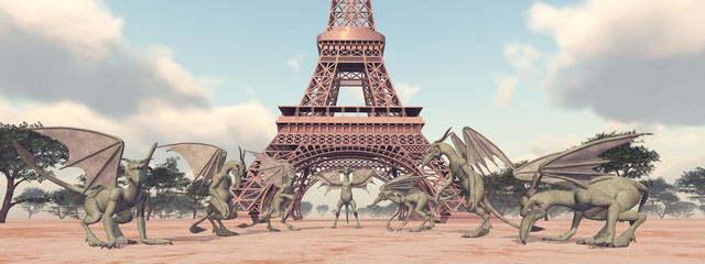 Gargoyles vor dem Eiffelturm