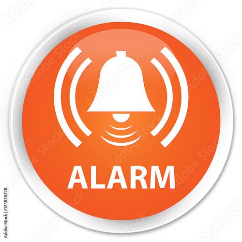 Alarm Bell Icon Orange Glossy Round Button Stock Photo