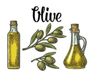 Bottle glass of Olive oil with cork stopper and branch with leaves