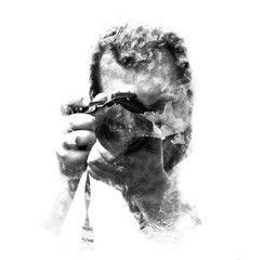 Double exposure male photographer looking at the camera, black a white. Painted portrait of a man face. Black and white picture isolated on white background. Abstract  face. Watercolor illustration.