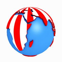 Globus mit rot weißen Streifen