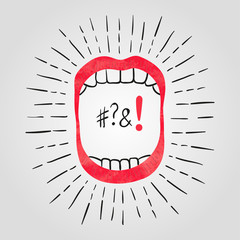 Vector illustration of open mouth with teeth. Watercolor loud noise symbol.